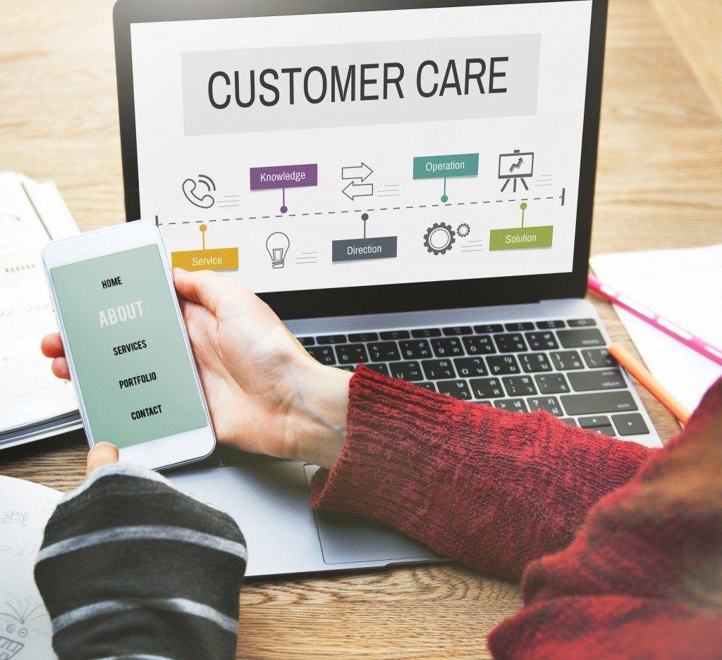customer care concept on laptop
