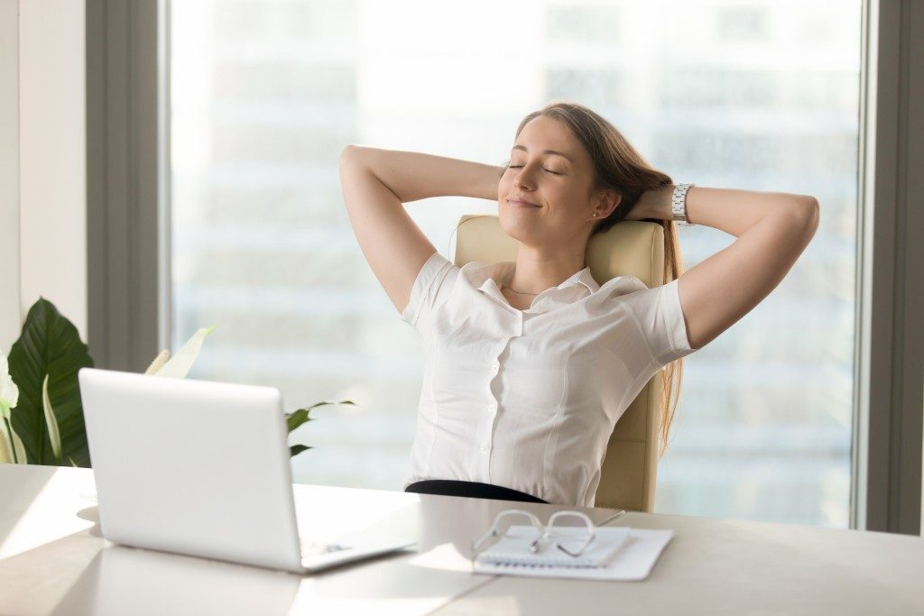 woman relaxed at work