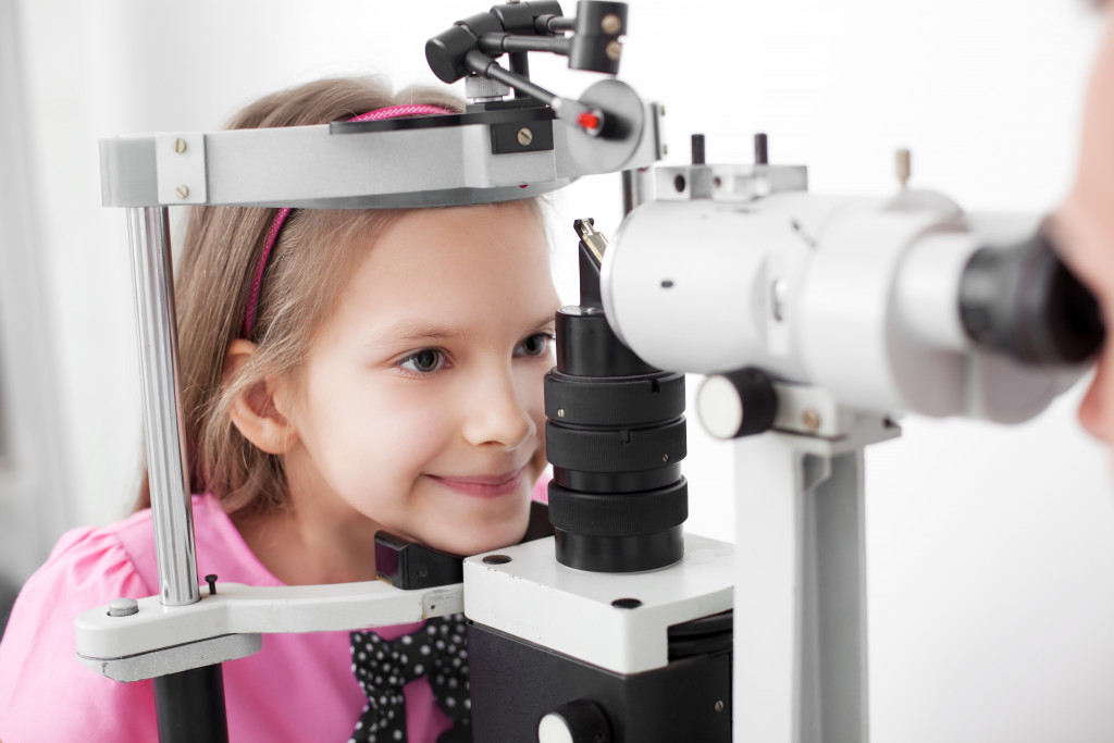 child in an eye doctor